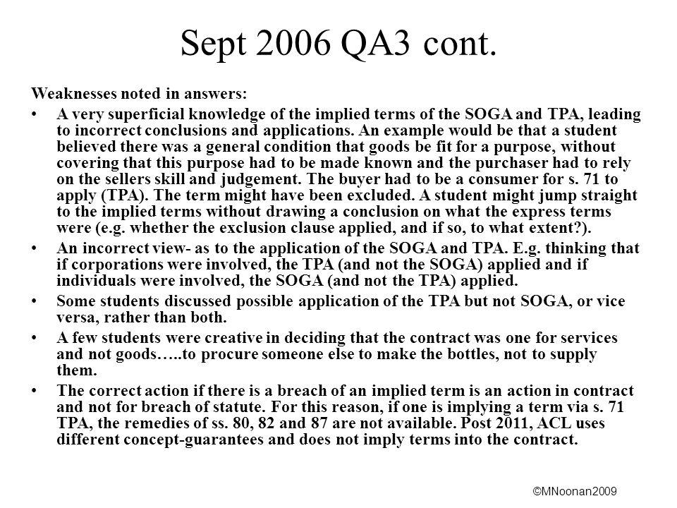 ©MNoonan2009 Sept 2006 QA3 cont.