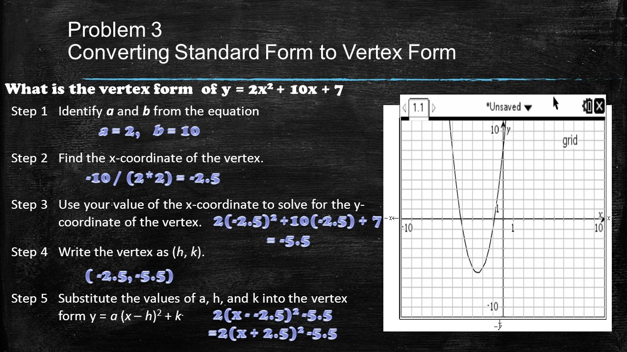 Quadratic functions equations chapter quadratic functions problem 3 converting standard form to vertex form what is the vertex form of y falaconquin