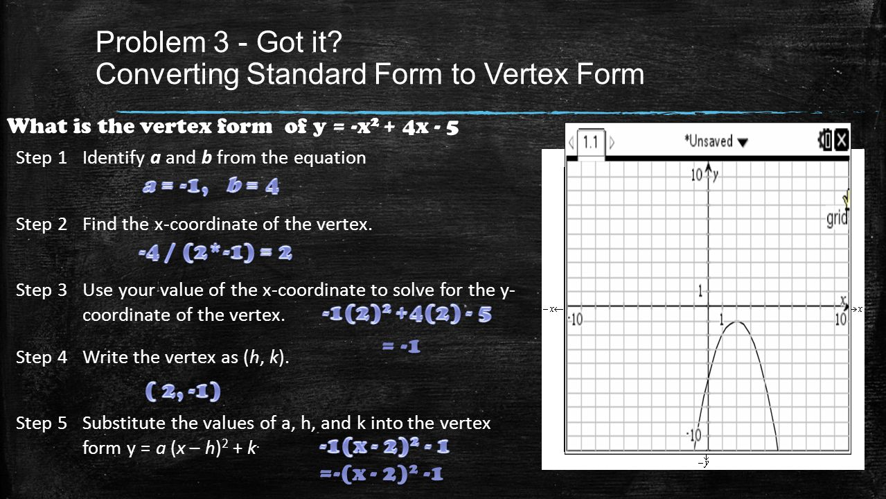 Quadratic functions equations chapter quadratic functions what is the vertex form of y 27 problem falaconquin