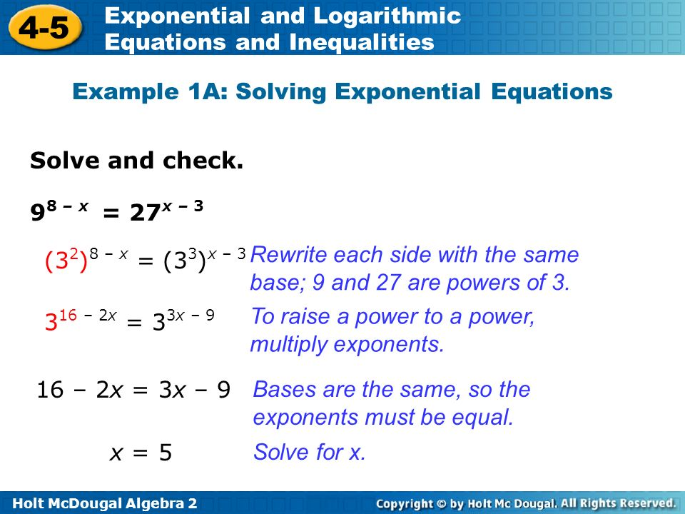 Holt McDougal Algebra Exponential and Logarithmic Equations and ...