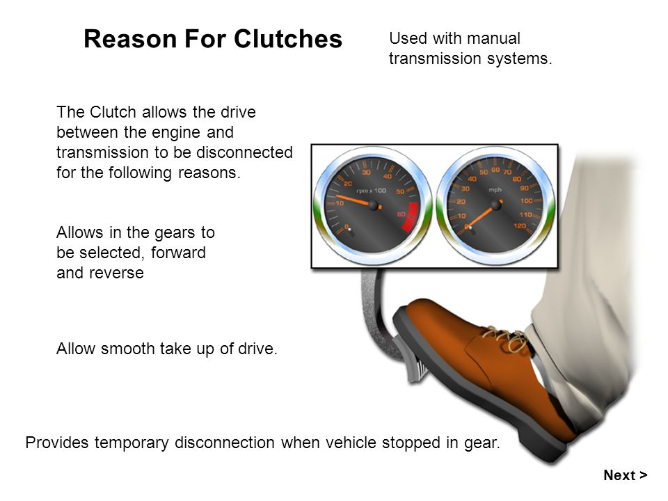 Reason For Clutches Allows in the gears to be selected, forward and reverse Used with manual transmission systems.