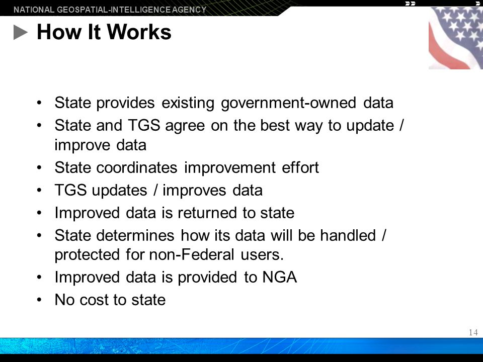 NATIONAL GEOSPATIAL-INTELLIGENCE AGENCY 14 How It Works State provides existing government-owned data State and TGS agree on the best way to update / improve data State coordinates improvement effort TGS updates / improves data Improved data is returned to state State determines how its data will be handled / protected for non-Federal users.
