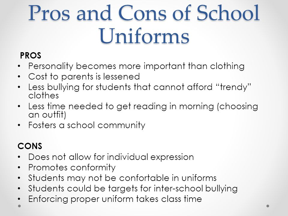 pros and cons for school uniforms