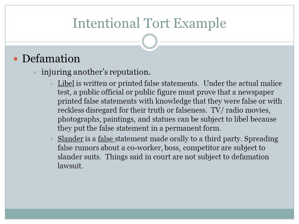 intentional tort case essay