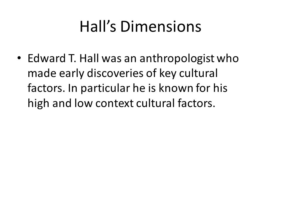 Hall's Dimensions Edward T.