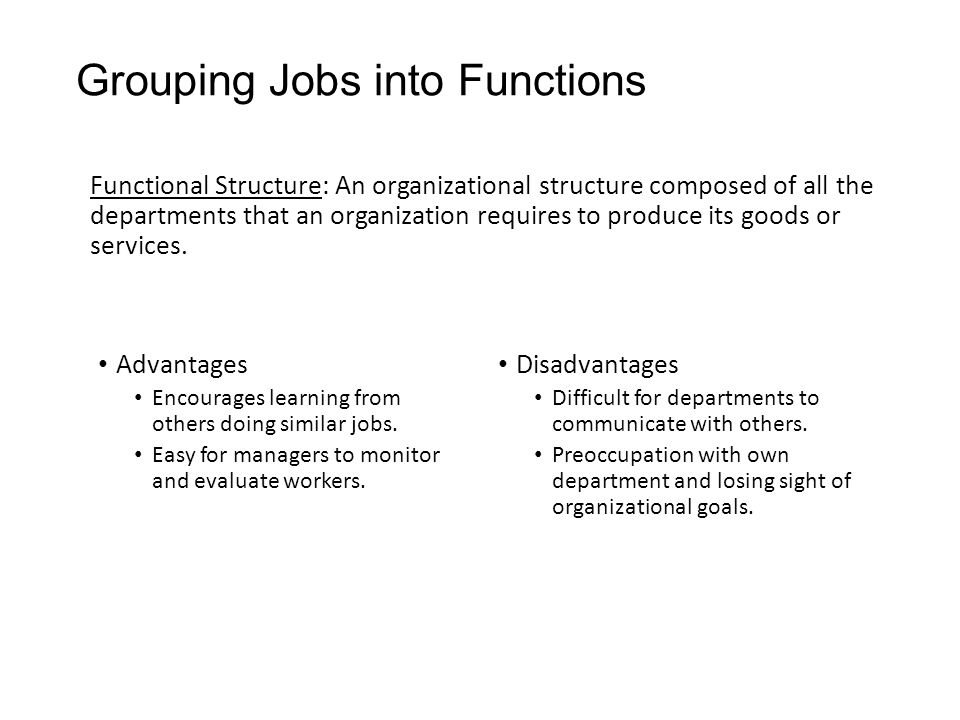 Grouping Jobs into Functions Functional Structure: An organizational structure composed of all the departments that an organization requires to produce its goods or services.