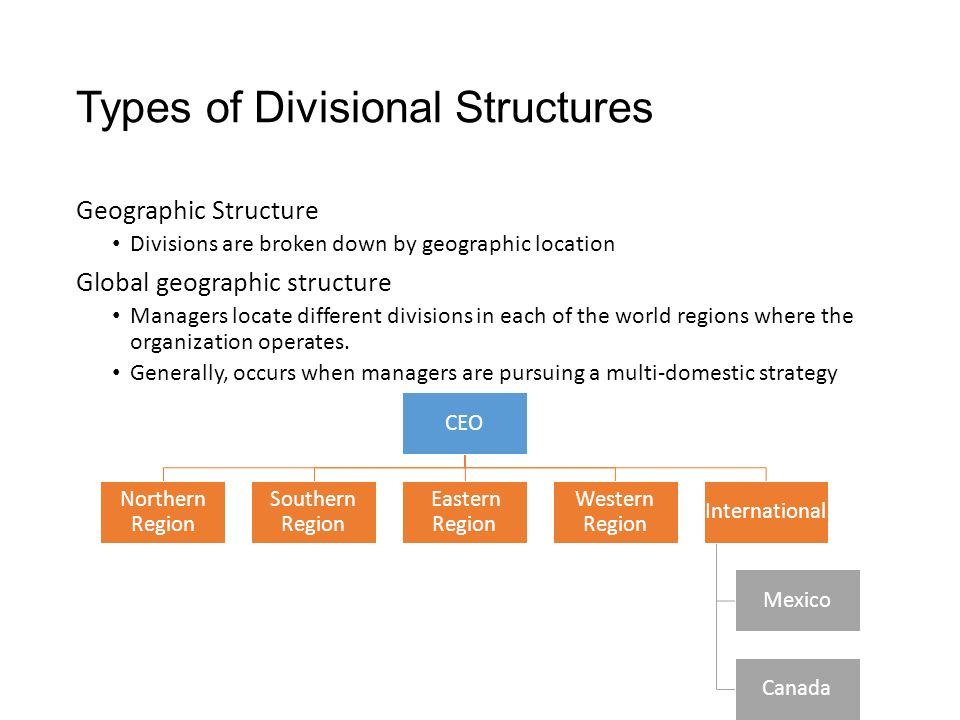 Types of Divisional Structures Geographic Structure Divisions are broken down by geographic location Global geographic structure Managers locate different divisions in each of the world regions where the organization operates.