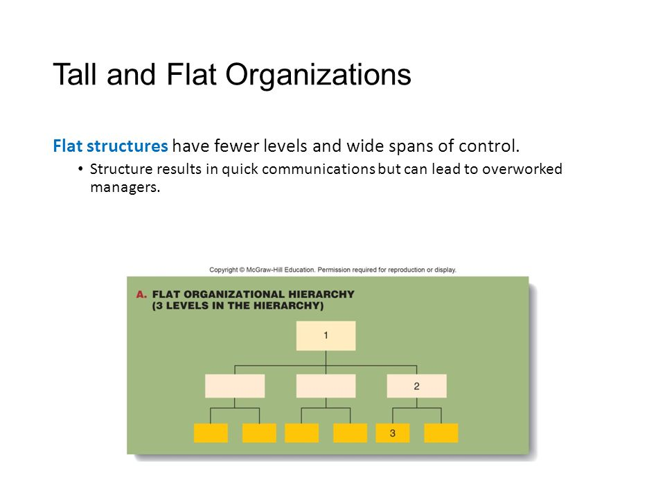 Tall and Flat Organizations Flat structures have fewer levels and wide spans of control.