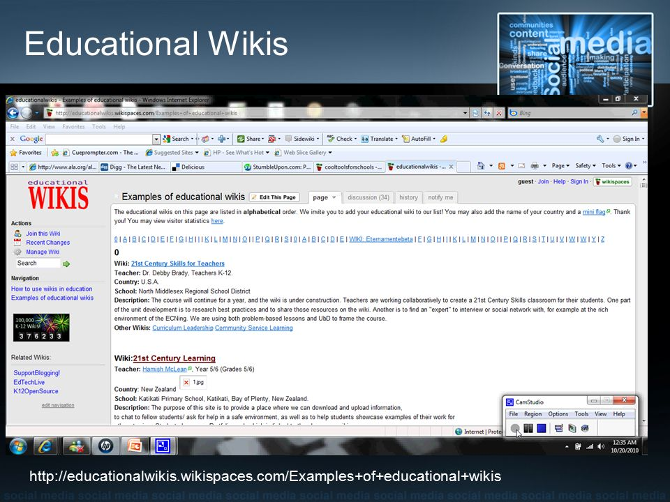 Educational Wikis http://educationalwikis.wikispaces.com/Examples+of+educational+wikis