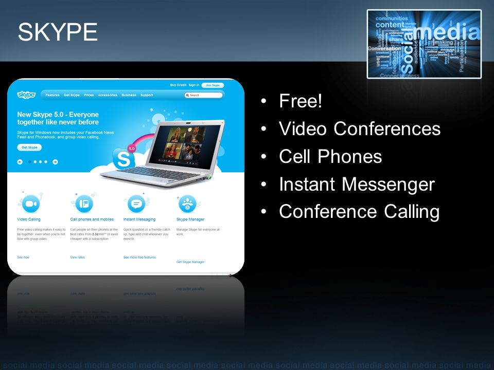 SKYPE Free! Video Conferences Cell Phones Instant Messenger Conference Calling