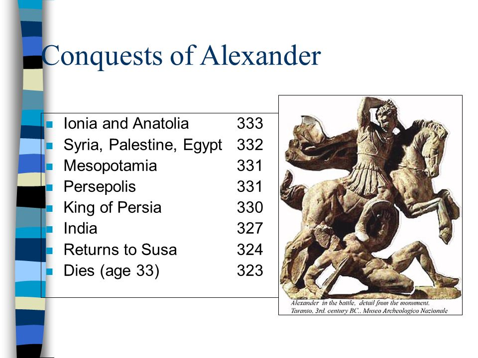 Conquests of Alexander n Ionia and Anatolia333 n Syria, Palestine, Egypt332 n Mesopotamia331 n Persepolis331 n King of Persia330 n India327 n Returns to Susa324 n Dies (age 33)323