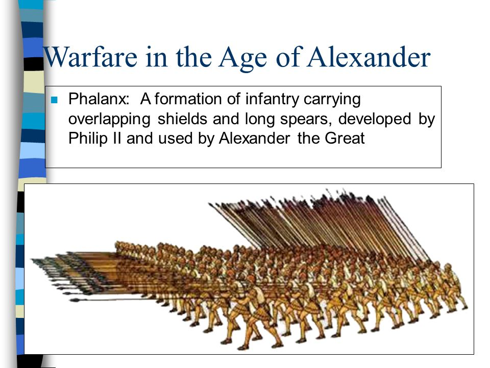 Warfare in the Age of Alexander n Phalanx: A formation of infantry carrying overlapping shields and long spears, developed by Philip II and used by Alexander the Great