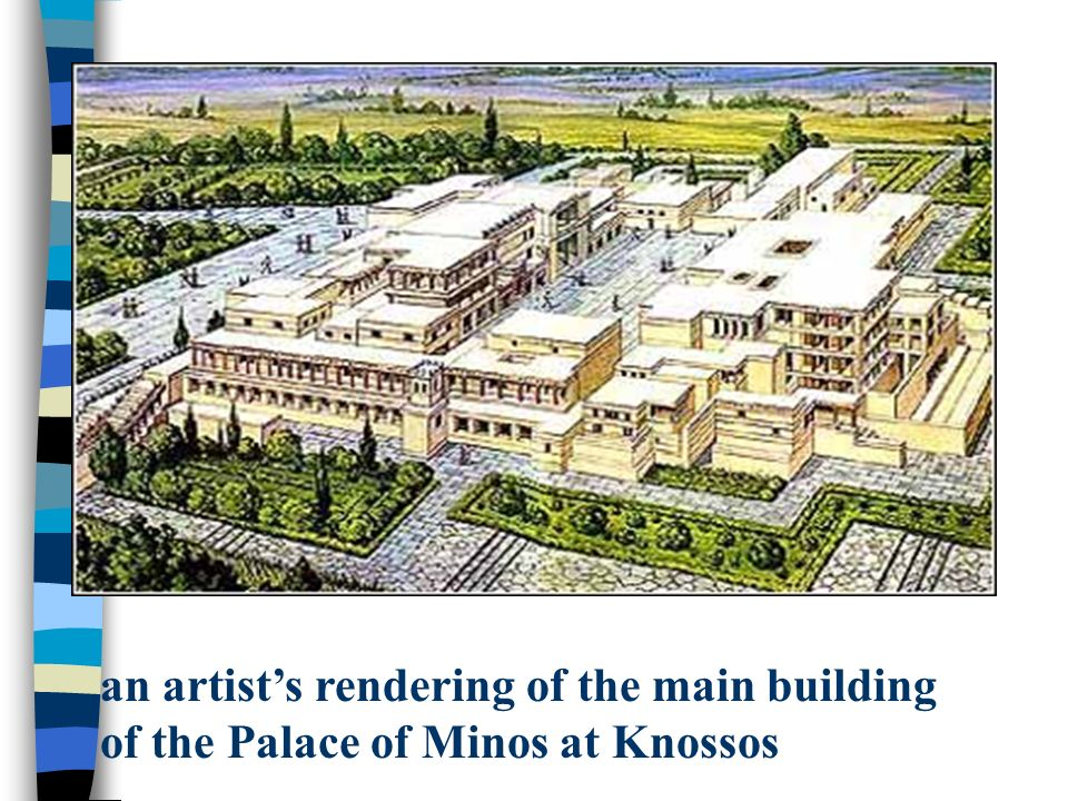 an artist's rendering of the main building of the Palace of Minos at Knossos