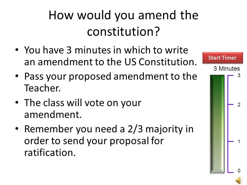 Constitutional Amendments The Amendments Amendment Process Proposed