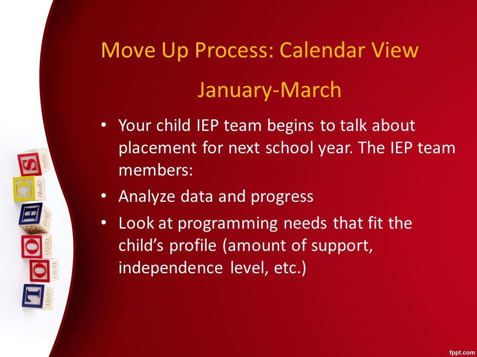 Move Up Process: Calendar View Your child IEP team begins to talk about placement for next school year.