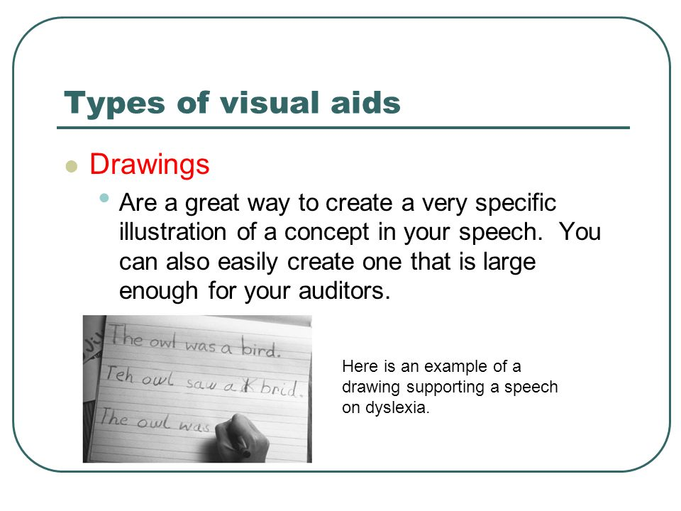 visual aid speech Research shows that presentations which use visual support are more persuasive than ones which do not visual aids help listeners understand abstract concepts and allow complex data to be organized and reduced to make a point clearly and concisely.