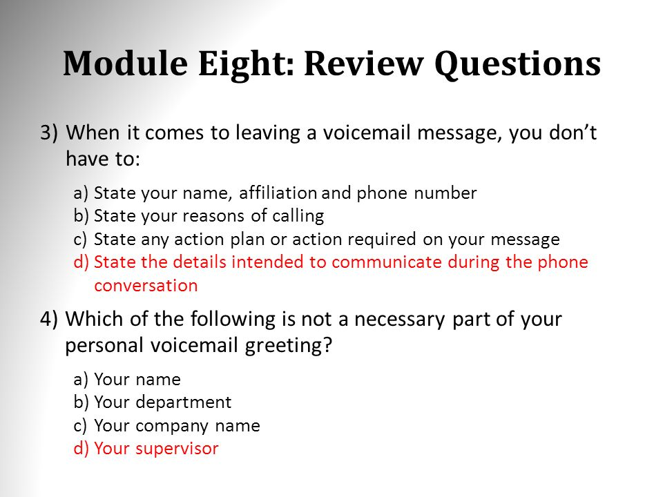 Business etiquette corporate training materials module one getting module eight review questions 3when it comes to leaving a voicemail message m4hsunfo
