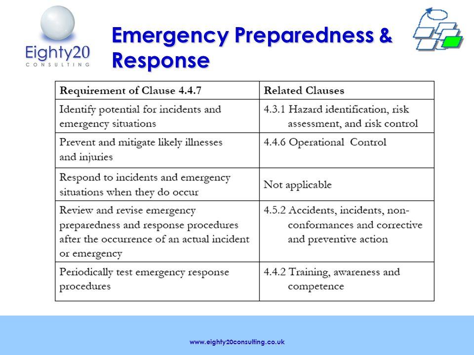www.eighty20consulting.co.uk Emergency Preparedness & Response