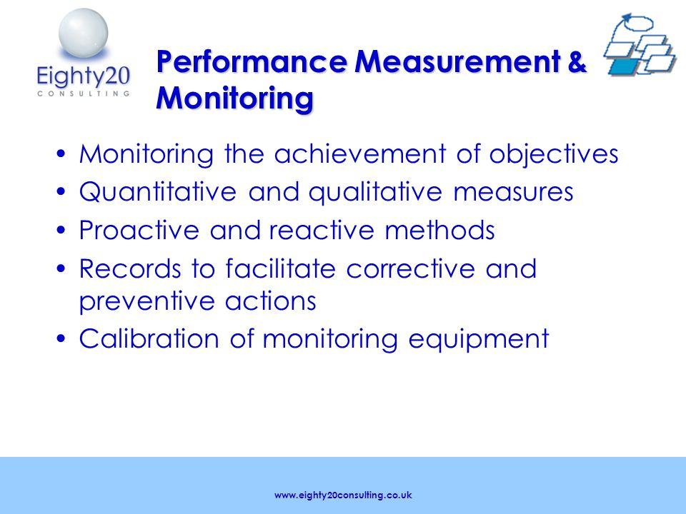 www.eighty20consulting.co.uk Performance Measurement & Monitoring Monitoring the achievement of objectives Quantitative and qualitative measures Proactive and reactive methods Records to facilitate corrective and preventive actions Calibration of monitoring equipment