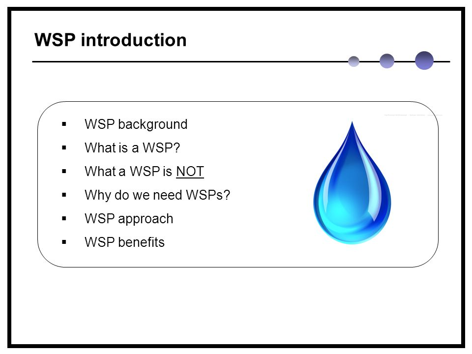 WSP introduction  WSP background  What is a WSP.