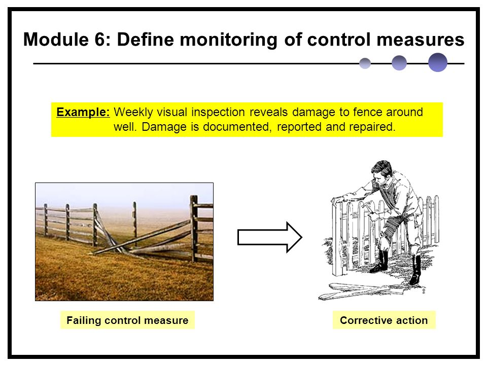 Module 6: Define monitoring of control measures Example: Weekly visual inspection reveals damage to fence around well.