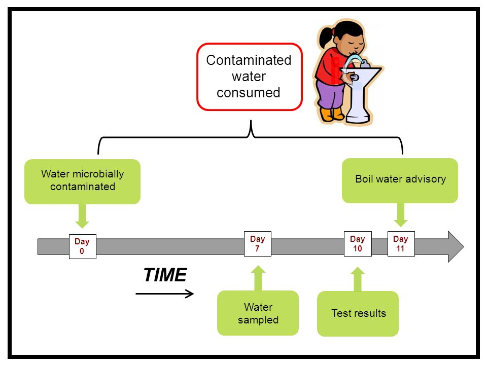 Water microbially contaminated Water sampled Test results Boil water advisory Day 11 Contaminated water consumed Day 10 Day 7 Day 0 TIME