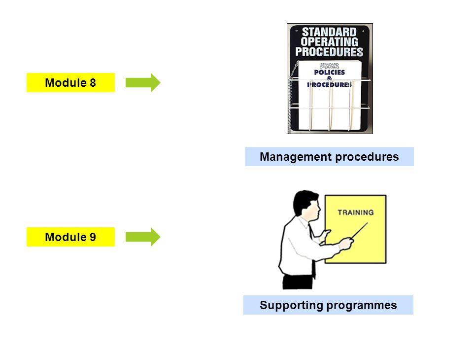 Module 9 Module 8 Management procedures Supporting programmes