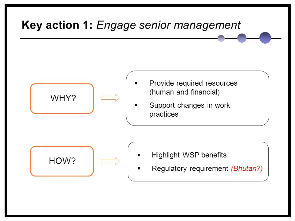 Key action 1: Engage senior management WHY. HOW.