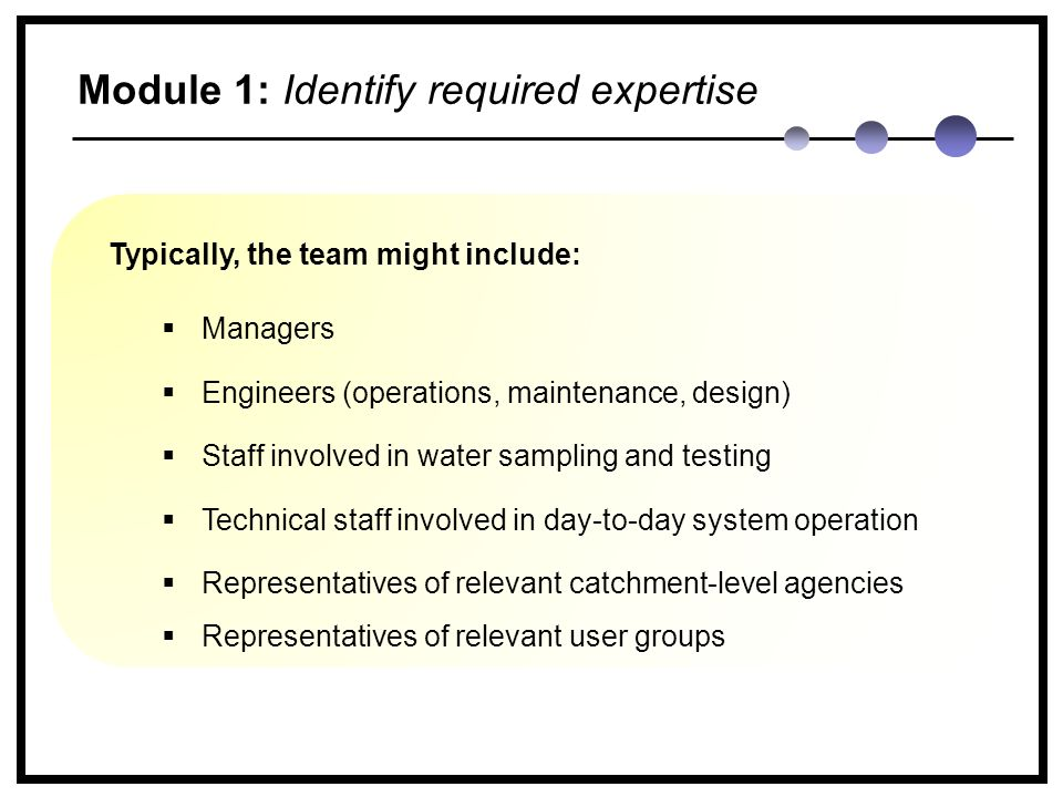 Module 1: Identify required expertise Typically, the team might include:  Managers  Engineers (operations, maintenance, design)  Staff involved in water sampling and testing  Technical staff involved in day-to-day system operation  Representatives of relevant catchment-level agencies  Representatives of relevant user groups