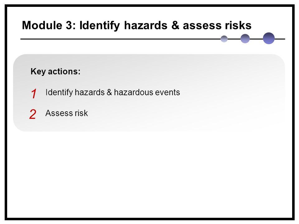 Module 3: Identify hazards & assess risks Key actions: Identify hazards & hazardous events Assess risk 1 2