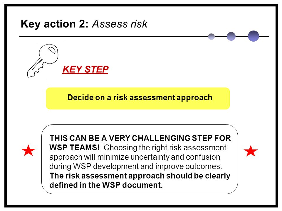 Key action 2: Assess risk THIS CAN BE A VERY CHALLENGING STEP FOR WSP TEAMS.