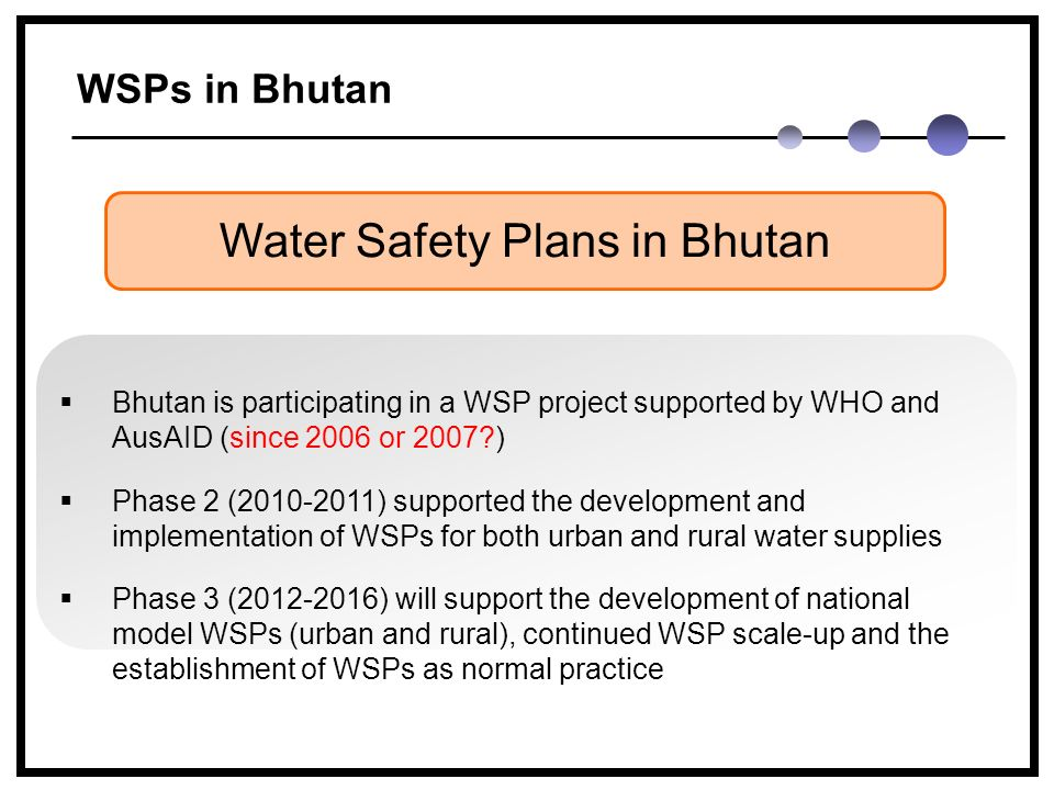 WSPs in Bhutan Water Safety Plans in Bhutan  Bhutan is participating in a WSP project supported by WHO and AusAID (since 2006 or 2007 )  Phase 2 (2010-2011) supported the development and implementation of WSPs for both urban and rural water supplies  Phase 3 (2012-2016) will support the development of national model WSPs (urban and rural), continued WSP scale-up and the establishment of WSPs as normal practice