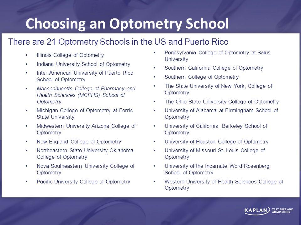 Choosing an Optometry School Illinois College of Optometry Indiana  University School of Optometry Inter American University