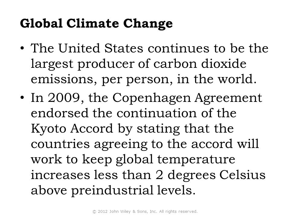 The United States continues to be the largest producer of carbon dioxide emissions, per person, in the world.