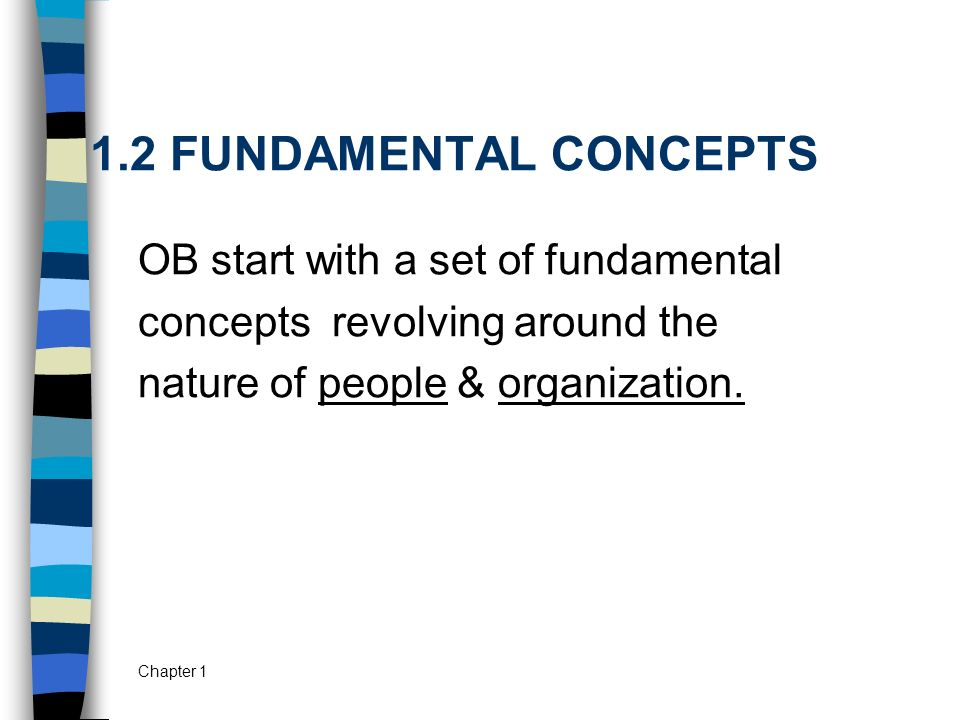 Chapter 1 1.2 FUNDAMENTAL CONCEPTS OB start with a set of fundamental concepts revolving around the nature of people & organization.