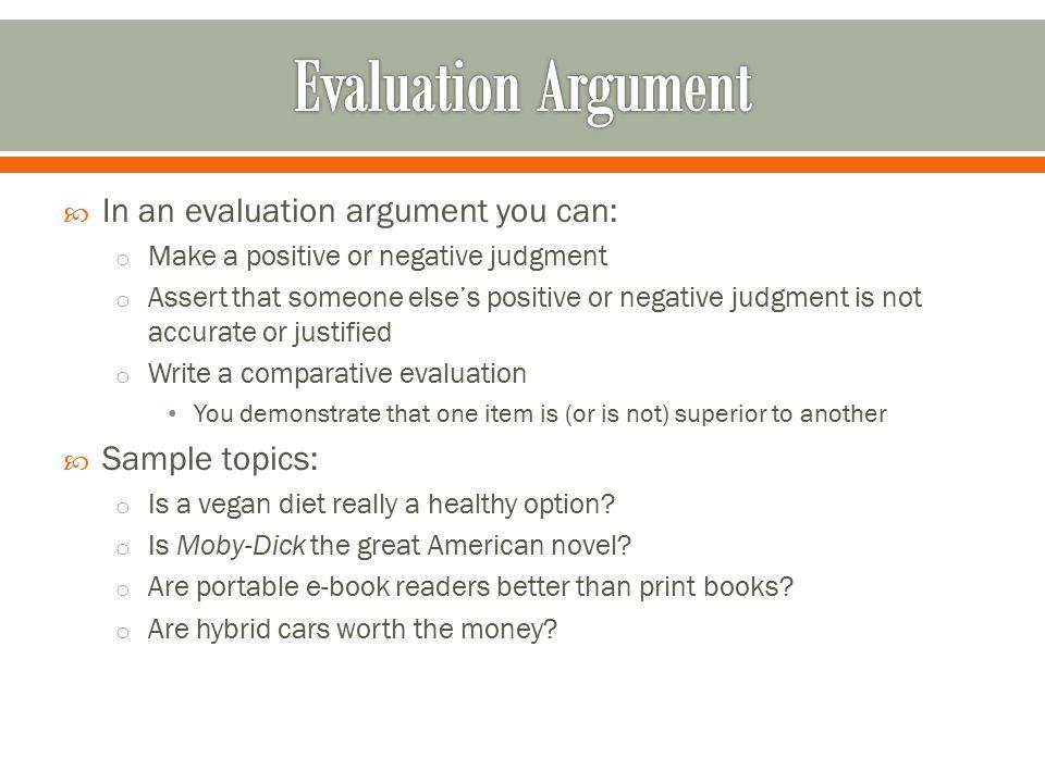 evaluation argument