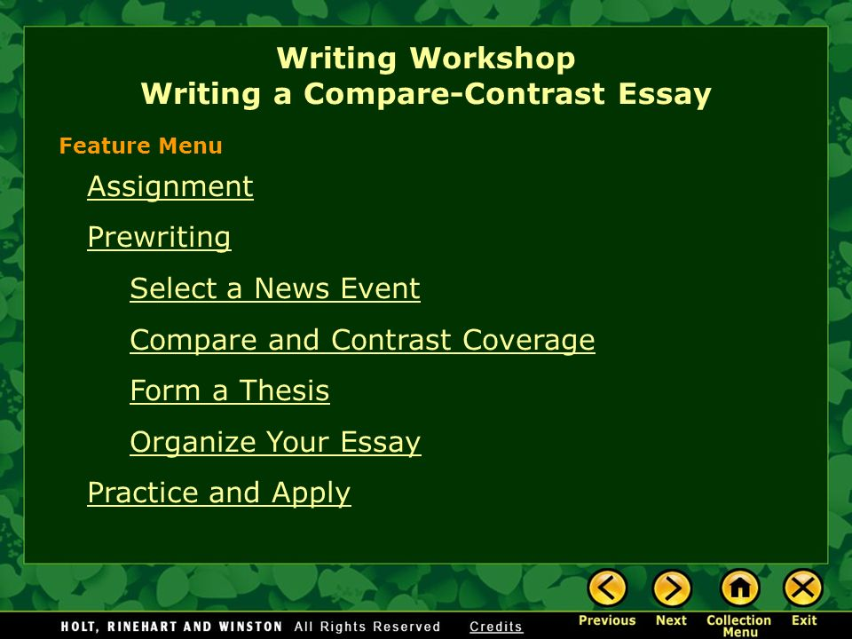 Personal Essay Examples High School  Writing Workshop Writing A Comparecontrast Essay Assignment Prewriting  Select A News Event Compare And Contrast Coverage Form A Thesis Organize  Your  Healthy Food Essays also Best English Essays Writing Workshop Writing A Comparecontrast Essay Assignment  Essay On Photosynthesis