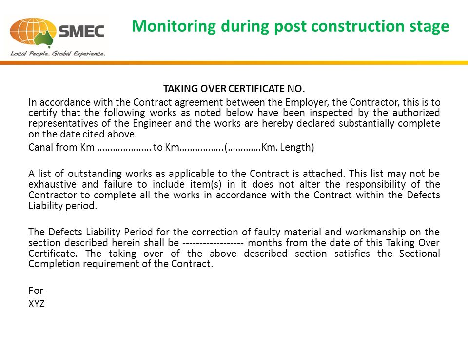 Construction management quality control karnataka integrated and monitoring during post construction stage taking over certificate no altavistaventures Gallery