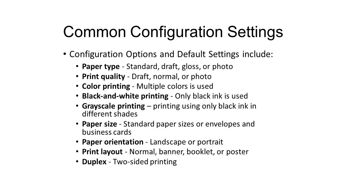 Chapter 9 Printers. Chapter 9 Objectives 9.1 Describe the common ...