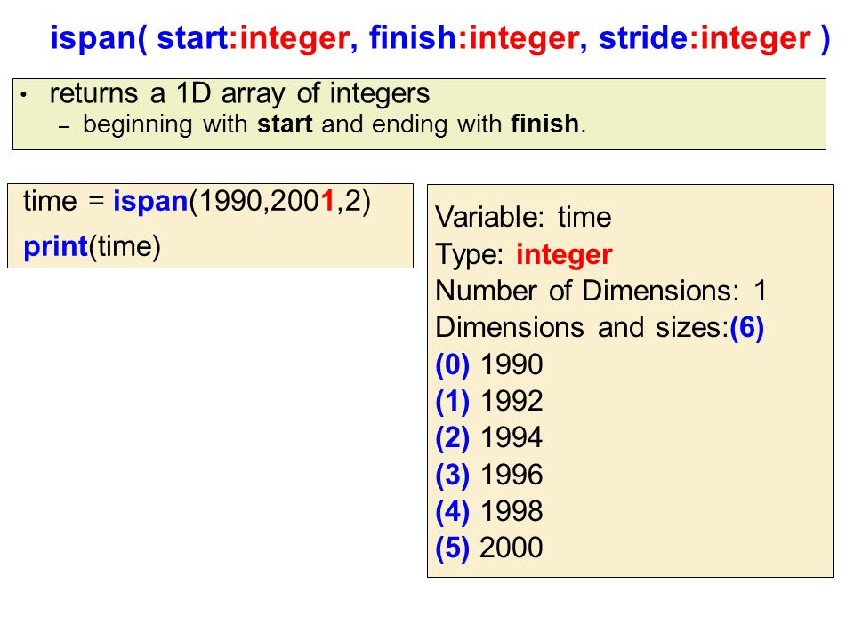 ispan( start:integer, finish:integer, stride:integer ) returns a 1D array of integers – beginning with start and ending with finish.