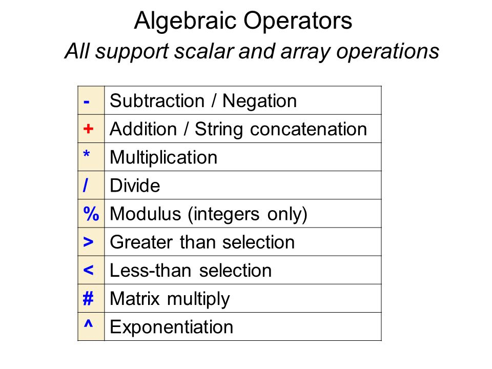 Algebraic Operators All support scalar and array operations -Subtraction / Negation +Addition / String concatenation *Multiplication /Divide %Modulus (integers only) >Greater than selection <Less-than selection #Matrix multiply ^Exponentiation