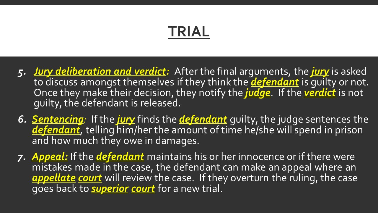 TRIAL 5.Jury deliberation and verdict: After the final arguments, the jury is asked to discuss amongst themselves if they think the defendant is guilty or not.