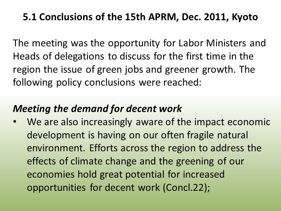 The meeting was the opportunity for Labor Ministers and Heads of delegations to discuss for the first time in the region the issue of green jobs and greener growth.