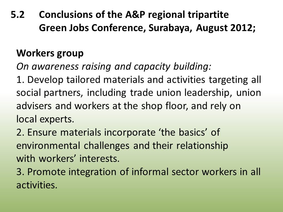 Workers group On awareness raising and capacity building: 1.