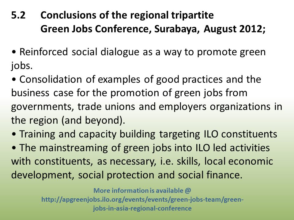 Reinforced social dialogue as a way to promote green jobs.