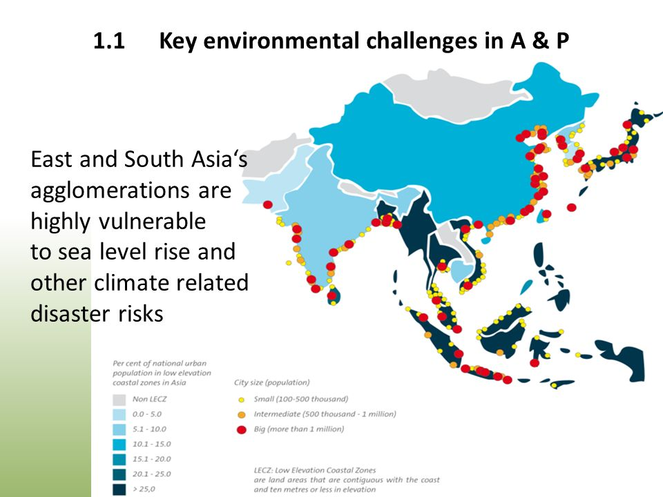 East and South Asia's agglomerations are highly vulnerable to sea level rise and other climate related disaster risks 1.1Key environmental challenges in A & P
