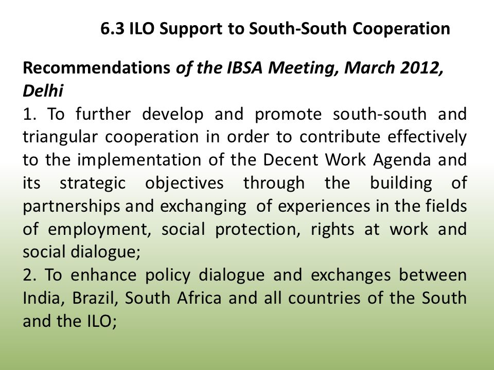 Recommendations of the IBSA Meeting, March 2012, Delhi 1.