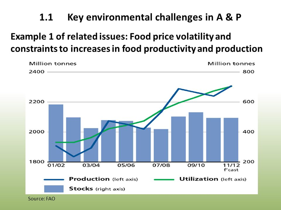 Example 1 of related issues: Food price volatility and constraints to increases in food productivity and production Source: FAO 1.1Key environmental challenges in A & P