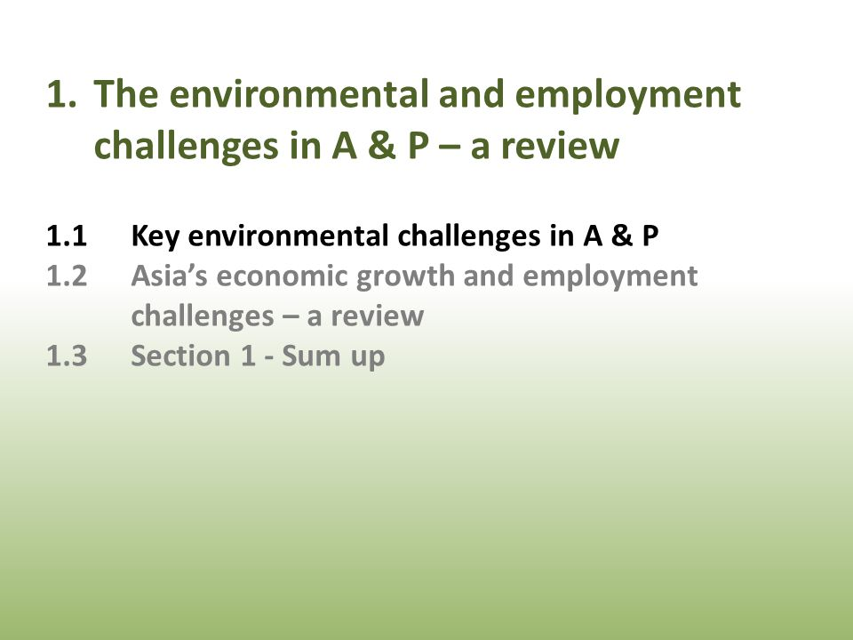 1.The environmental and employment challenges in A & P – a review 1.1Key environmental challenges in A & P 1.2Asia's economic growth and employment challenges – a review 1.3Section 1 - Sum up