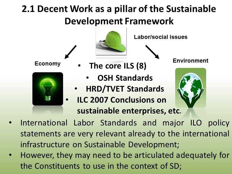 Economy Environment The core ILS (8) OSH Standards HRD/TVET Standards ILC 2007 Conclusions on sustainable enterprises, etc.